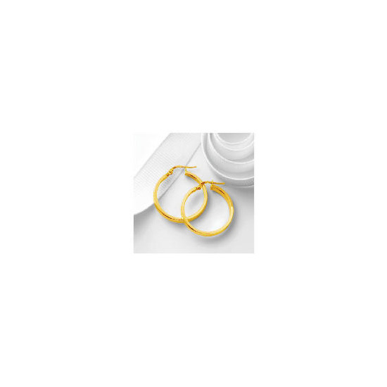 9ct Gold Square Tube Hoops, 25mm