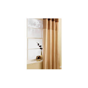 Photo of Pair Of Treble Faux Silk Lined Eyelet, Natural 163X229 Curtain