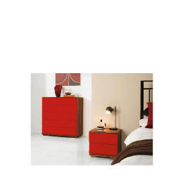 Ferrara Bedside Chest, Red & Walnut Reviews