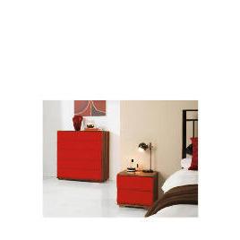 Ferrara Bedside Chest, Red & Walnut Reviews