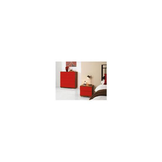 Ferrara Bedside Chest, Red & Walnut