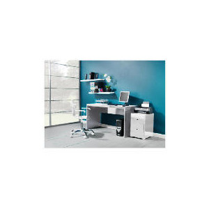 Photo of Curve High Gloss Office Desk, White Office Furniture