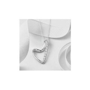 Photo of Silver Cubic Zirconia Heart Ribbon Pendant Jewellery Woman