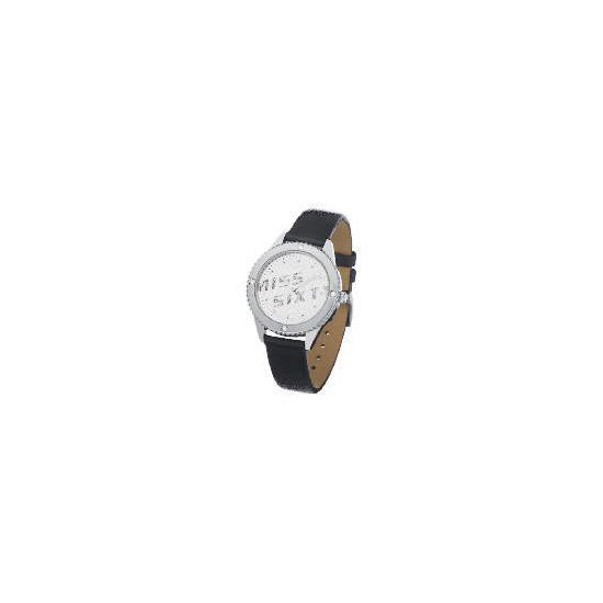 Miss Sixty Diamonte Case Black Strap Watch
