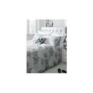 Photo of Tesco Designer Rose Print Duvet Set Double, Silver Bed Linen