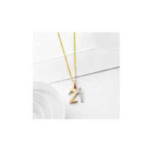 "Photo of 9CT Gold Diamond Set ""21"" Pendant Jewellery Woman"