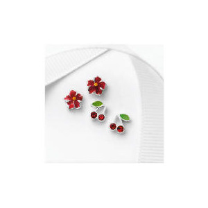 Photo of Silver Red Flower and Cherry Earring Set Jewellery Woman