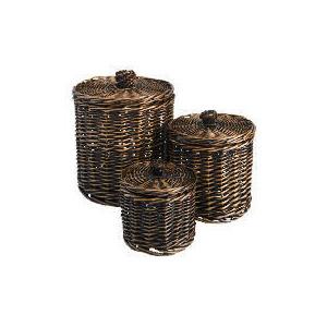 Photo of Tesco Willow Round Storage Basket Dark Natural Set Of 3 Household Storage