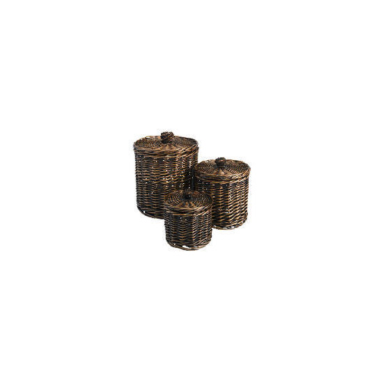 Tesco Willow round storage basket dark natural set of 3
