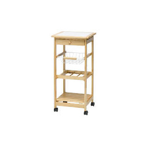 Photo of Pine Trolley With Tile Top Household Storage