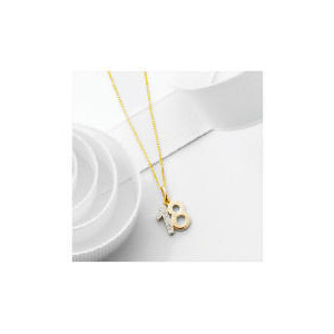 "Photo of 9CT Gold Diamond Set ""18"" Pendant Jewellery Woman"