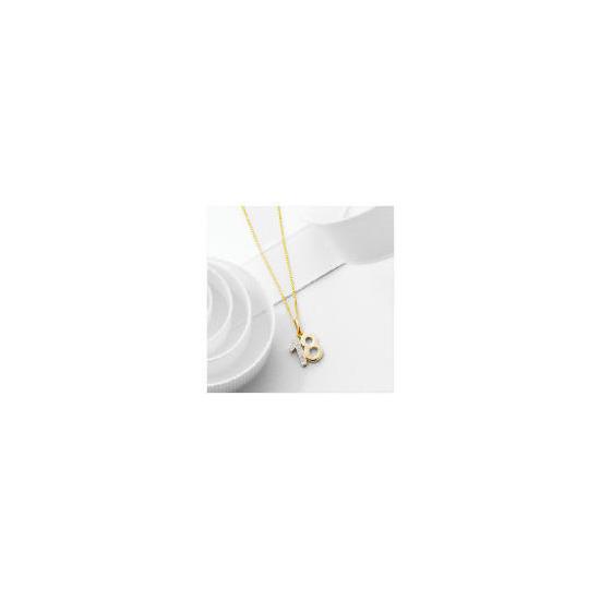 "9ct Gold Diamond set ""18"" Pendant"