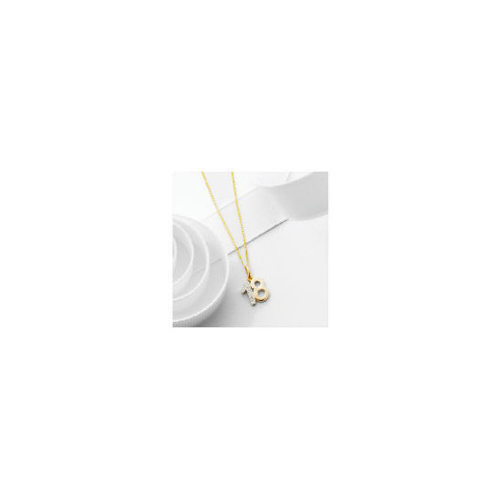 "9ct Gold Diamond set ""18"" Pendant"