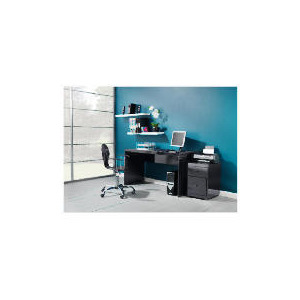 Photo of Curve High Gloss Office Desk, Black Office Furniture