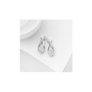 Photo of 9CT White Gold Invisible Set Crossover Earrings Jewellery Woman