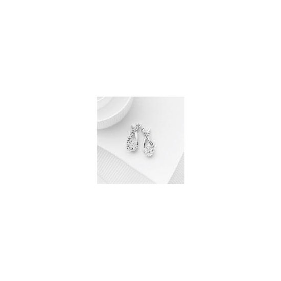 9ct White Gold Invisible Set Crossover Earrings