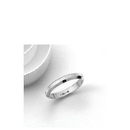 9ct White Gold 3mm Bevelled Edge Wedding Band, K Reviews