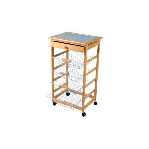 Photo of Pine Trolley With Wire Draws Household Storage