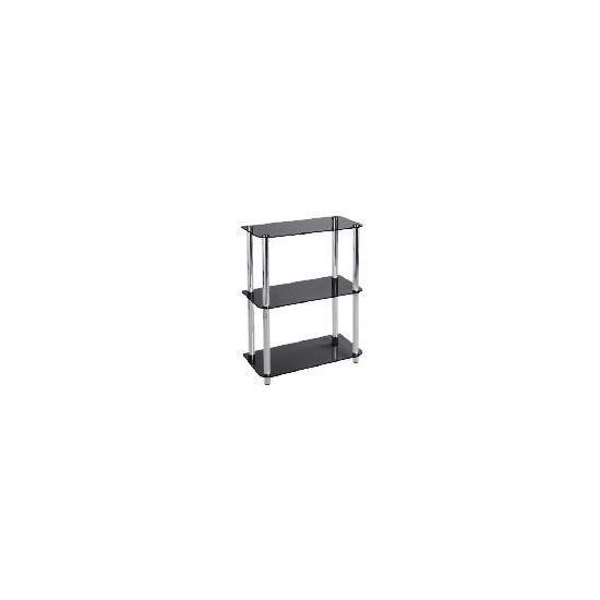 Mercury 3 shelf Storage, Black Glass