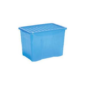 Photo of 80L Box With Lid Blue Household Storage