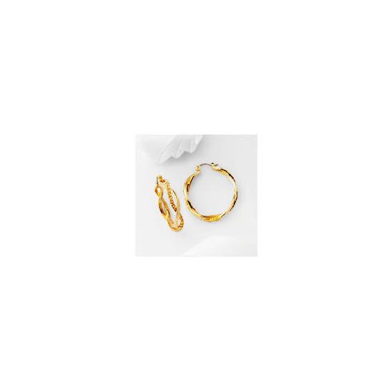 Pave Champagne Twist Hoop Earrings