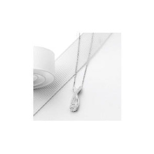 Photo of 9CT White Gold Invisible Set Crossover Pendant Jewellery Woman