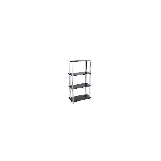 Mercury 4 shelf Storage, Black Glass