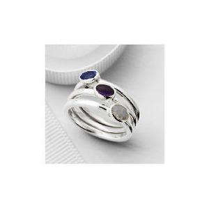Photo of Silver Purple Semi-Precious Stacking Rings, Large Jewellery Woman