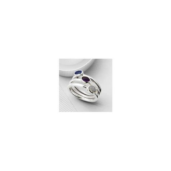 Silver Purple Semi-Precious Stacking Rings, Large