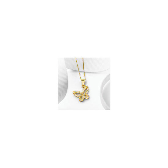 9ct Gold Cubic Zirconia Butterfly Pendant