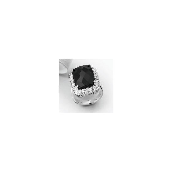 Pave Back to Black Solitaire Ring - Large