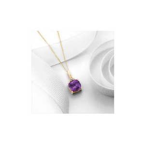 Photo of 9CT Gold Amethyst and Diamond Pendant Jewellery Woman