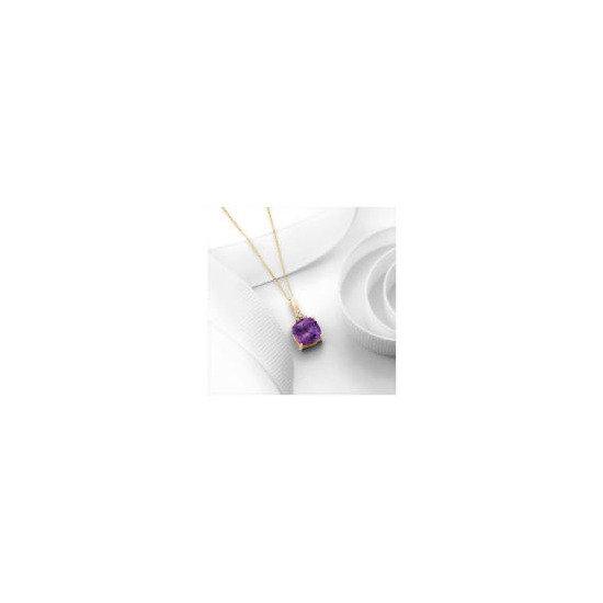 9ct Gold Amethyst and Diamond Pendant