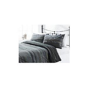 Photo of Tesco Helsinki Stripe Print Duvet Set Single, Black Bed Linen