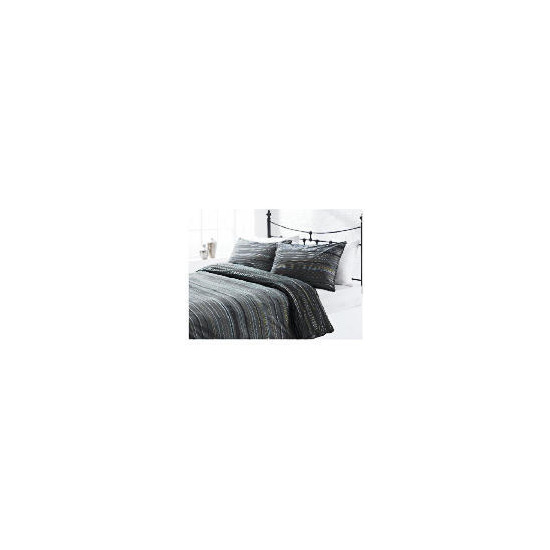 Tesco Helsinki Stripe Print Duvet Set Single, Black