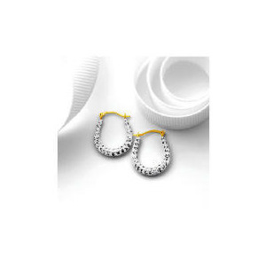 Photo of 9CT Gold Crystal Set Oval Hoops Jewellery Woman