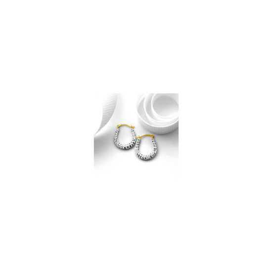 9ct Gold Crystal Set Oval Hoops