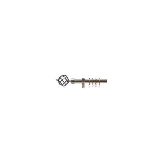 Premium Extendable Metal Pole 25-28mm 210-360cm Round Cage Final Antique Brass