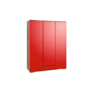 Photo of Ferrara Triple Wardrobe, Red & Walnut Furniture