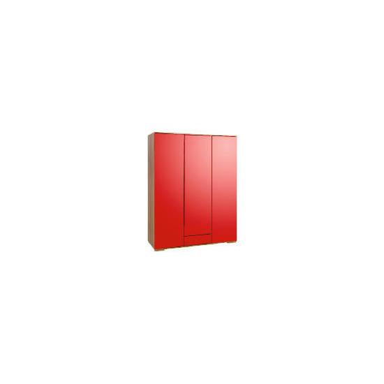 Ferrara Triple Wardrobe, Red & Walnut