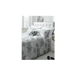 Photo of Tesco Designer Rose Print Duvet Set Kingsize, Silver Bed Linen