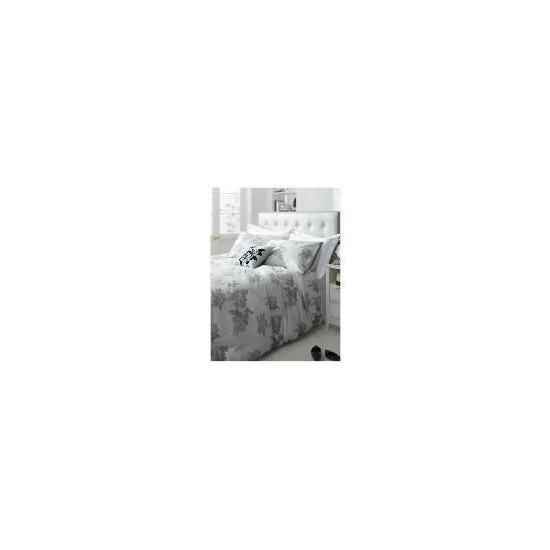 Tesco Designer Rose Print Duvet Set Kingsize, Silver