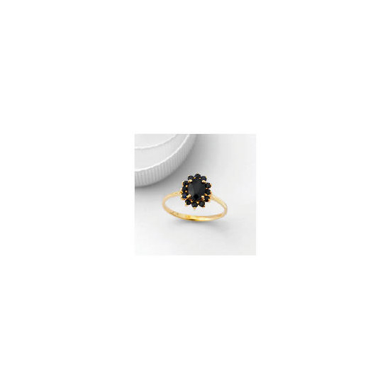 9ct Gold Sapphire Cluster Ring, Q