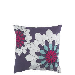 Tesco Bold Floral Embroidered Cushion, Purple, Carmen Reviews