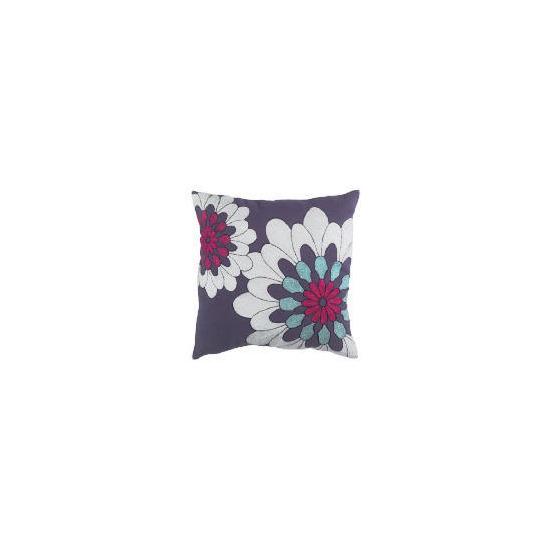 Tesco Bold Floral Embroidered Cushion, Purple, Carmen