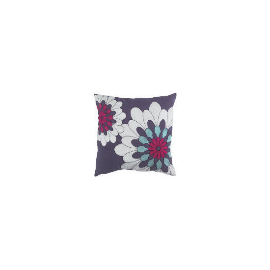 Tesco Bold Floral Embroidered Cushion, Purple, Carmen
