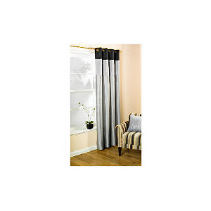 Photo of Pair Of Treble Faux Silk Lined Eyelet, Black & Pewter 163X137 Curtain
