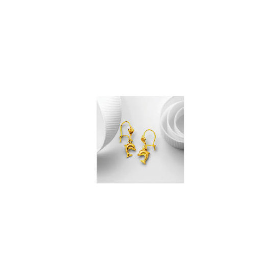 9ct Gold Dolphin Drop Earrings