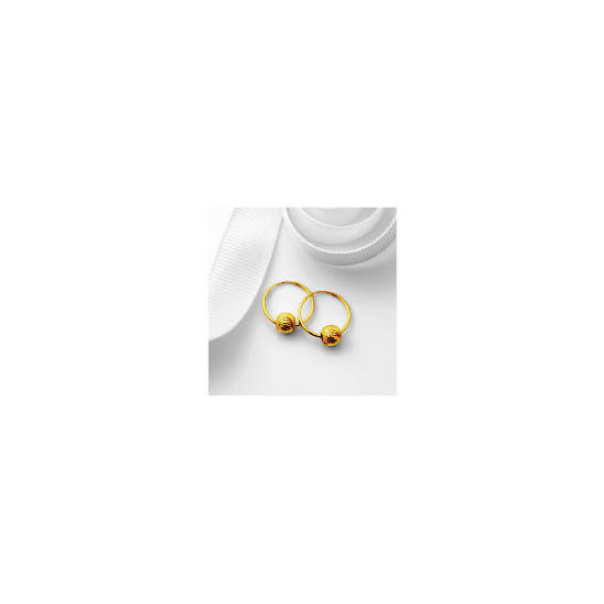 9ct Gold Hoops with Ball Detail