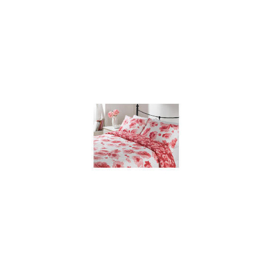 Tesco Rose Bloom Print Duvet Set Double, Cream